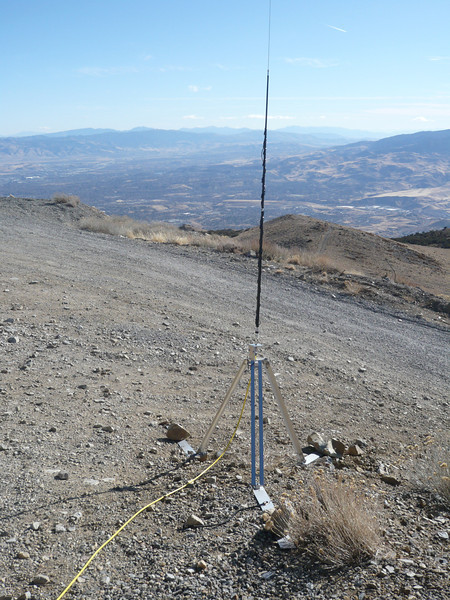 At the end of the yellow brick road (er, coax) is Dave's Outbacker vertical antenna. It's sitting at a great spot for working stations to our east.