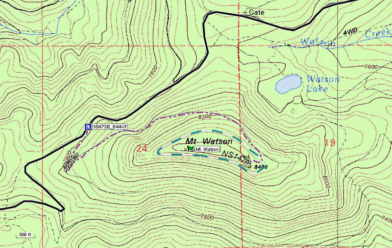 The hike up forest service road 16N73E to the summit is approximately 1.6 miles long with an elevation gain of about 640 feet. 4WD vehicles with good ground clearance can drive up road 16N73E to within 100 vertical feet of the summit.