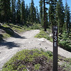 Closeup of road sign at trailhead.