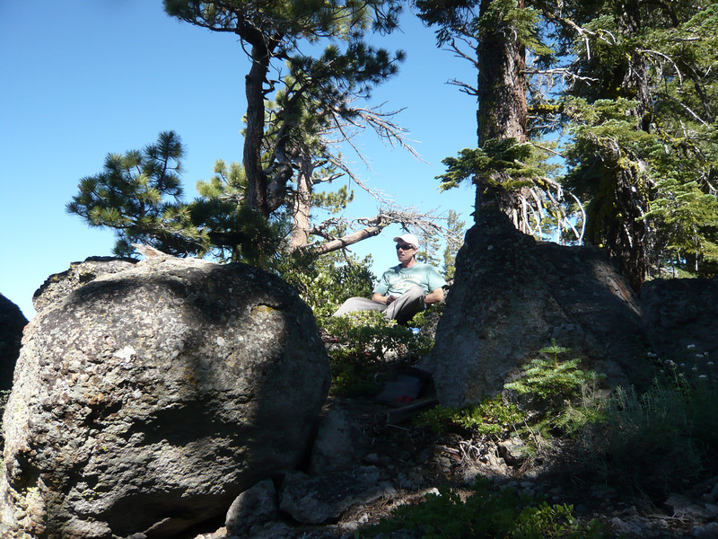 Me at my operating position with a great view of Lake Tahoe and the Sierra Crest.