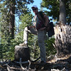 """The top is rounded and rather flat with nothing yelling out """"summit!"""". I therefore proclaimed this old stump to be the summit since it is as high as everything else up there."""