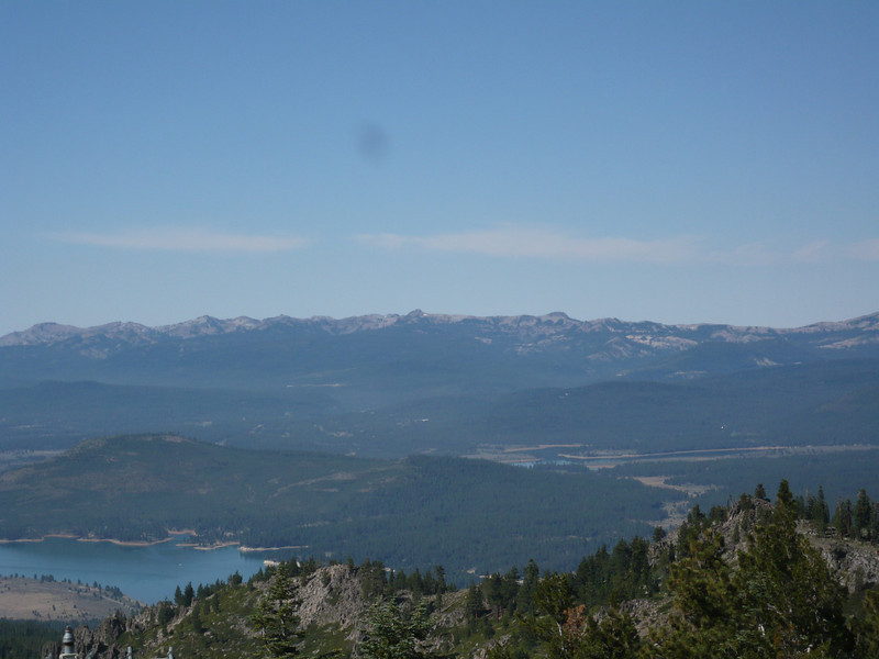 "To the southwest, Boca Reservoir is visible on the left and Prosser Reservoir on the right. The Pacific Crest Trail runs along the Sierra crest (essentially the skyline). SOTA peaks in that area include <a href=""http://www.grizzlyguy.com/HamRadio/SOTA-Activation-MtLincoln-0313"">Mt. Lincoln (W6/NS-149)</a>, <a href=""http://www.grizzlyguy.com/HamRadio/SOTA-TinkerKnob-W6NS121-2013"">Tinker Knob (W6/NS-121)</a>, Granite Chief (W6/NS-115) and <a href=""http://www.grizzlyguy.com/HamRadio/SOTA-Activation-1222013-Scott"">Scott Peak (W6/NS-153)</a>. Scott Peak is within the Alpine Meadows ski resort and since I also have a season ski pass for Alpine Meadows... I'll probably activate it this winter.   Mt. Lincoln is within the Sugar Bowl ski resort. I don't have a pass there, but maybe I'll buy a lift ticket."