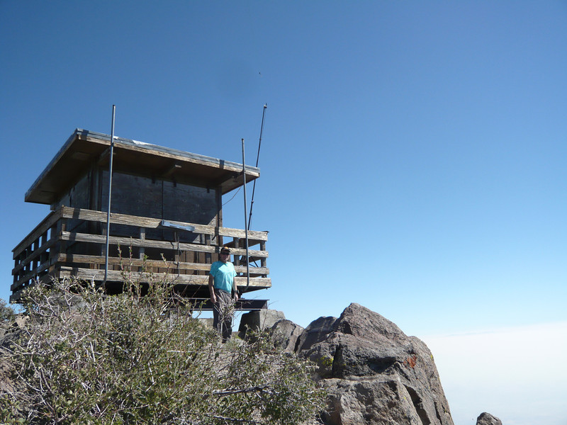 Me posing with my jury-rigged setup that will put Verdi Peak Lookout back on the air for the first time in... who knows how long.