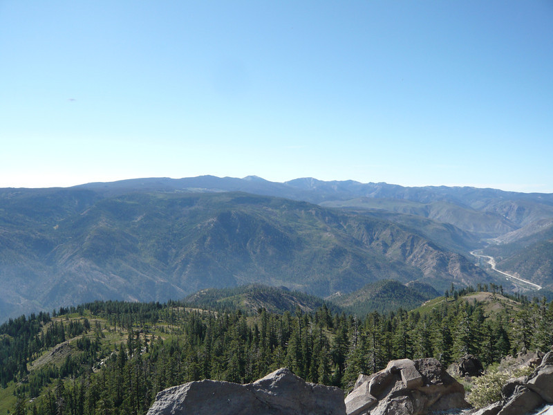 To the southeast, Mt. Rose (W7/WC-001) is the peak on the skyline in the center of the shot. The Truckee River canyon with I-80 winding up it from Nevada is to the right.