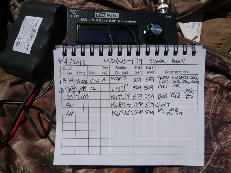 Logbook page 2 including a summit-to-summit QSO with Fred WS0TA on Mosquito Peak in Colorado (elevation 13,781 feet). Thanks to everyone who worked me!