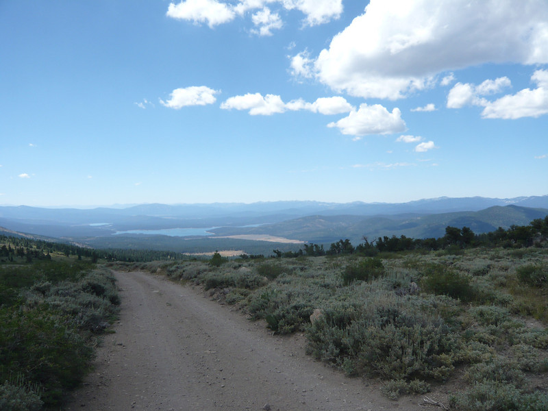 I took this shot while hiking back down the road. The camera is pointing south-southeast. Jones Valley is the smaller grassy area closest to the camera and Sardine Valley is the larger one. The largest and closest body of water is Stampede Reservoir and Boca Reservoir is also visible behind it.