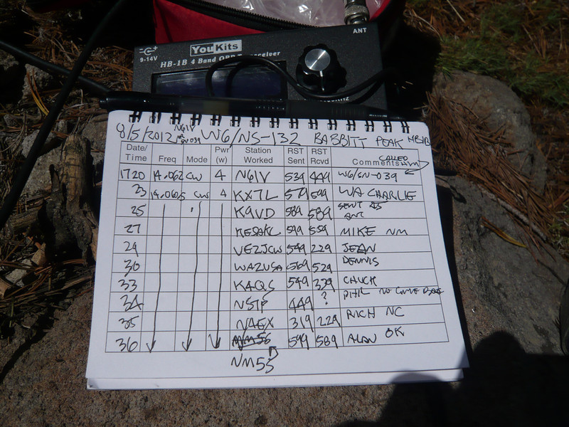 Logbook page 1. I began by working N6IV who was calling CQ from W6/SN-039 (Leviathan Peak). He was my only summit-to-summit QSO on this day. While working K9VD, I was being bitten by red ants and had to tell him to wait while I clawed them off me! Mike KE5AKL thought this was funny. Phil NS7P later called me but I didn't hear him again after I responded and gave him a signal report.