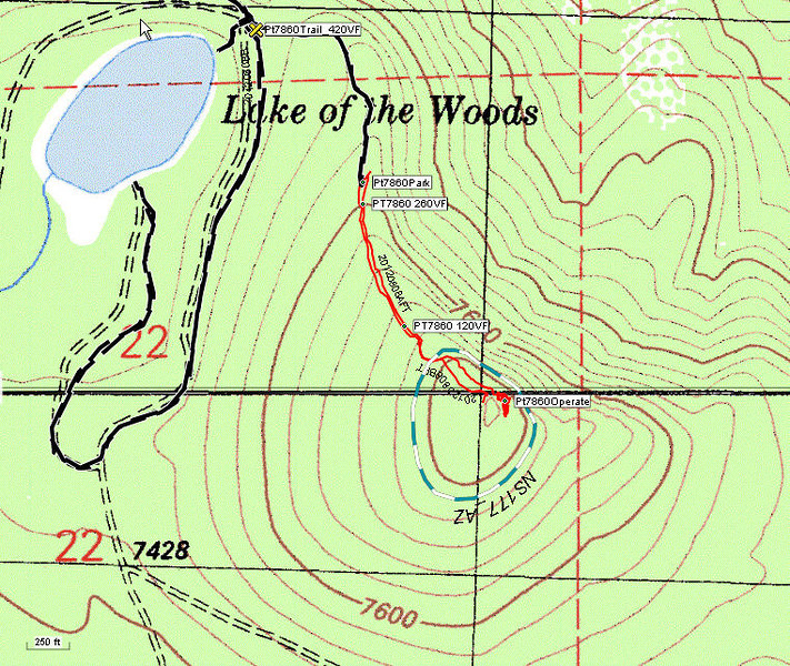 I do have an ATV so I rode up the hill a bit and started my hike from a point that is around 300 vertical feet from the summit. The red line is the GPS tracklog from my hike and the turquoise and white dashed line is my estimate of the SOTA activation zone. The dashed black line is the track log from my ATV (I went to the lake via a route different than the one I described above).