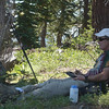 Kicked back in the Crazy Creek chair and making contacts.