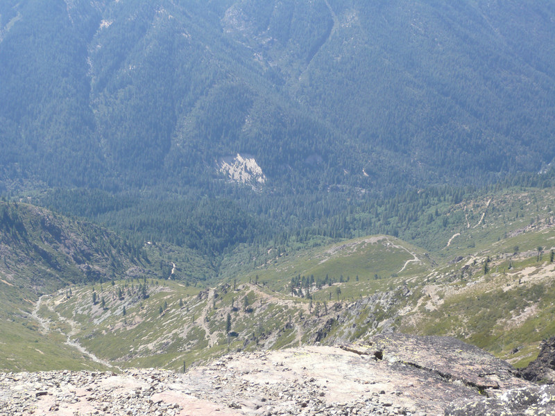 Looking down into the Yuba River canyon, the jeep trail that climbs up from Sierra City is visible.