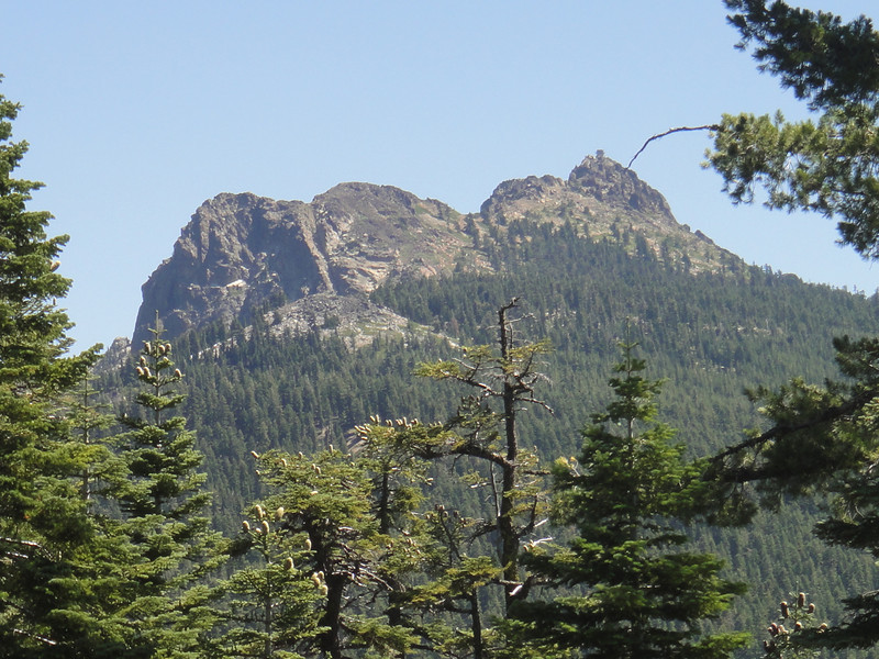 The Sierra Buttes as seen from the west. The lookout tower is perched atop solid rock. This photo was taken last summer during an ATV ride to the buttes via a different and easier route than I took today.