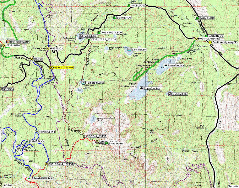 For people with normal vehicles, the easiest route to Sierra Buttes is to travel Gold Lake Highway north from Highway 49, take the Packer Lake turnoff, and drive up the paved road to the Pacific Crest Trail junction that is about 1/4 mile past Packer Lake Saddle (highlighted in yellow). The hike from there has an elevation gain of approximately 1500 vertical feet. Pacific Crest Trail does not go up to the summit but a side trail does. Another option (what most hikers do) is to start at Packer Lake itself for a scenic hike covering about 2300 vertical feet.