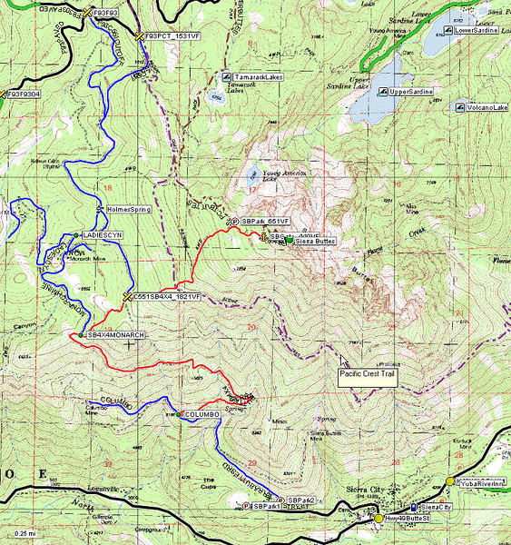 Since I have a 700cc 4x4 ATV rather than a normal vehicle, I rode up the jeep trail from Sierra City (blue line followed by red). Sierra City is a small town along Highway 49. I parked at the locked gate below the summit (anchor symbol on the map) so my hike only covered about 440 vertical feet. This jeep trail is best done in a narrow, high-clearance 4x4 vehicle or a dirt bike. Another option for less-rugged vehicles, high clearance 2WD should be enough, would be to take the paved road up to Packer Lake Saddle, turn onto the road shown in blue near the PCT junction, and drive to the waypoint I have marked C551SB4X4_1821VF. The hike up the dusty 4x4 trail from that point would climb around 1800 vertical feet.