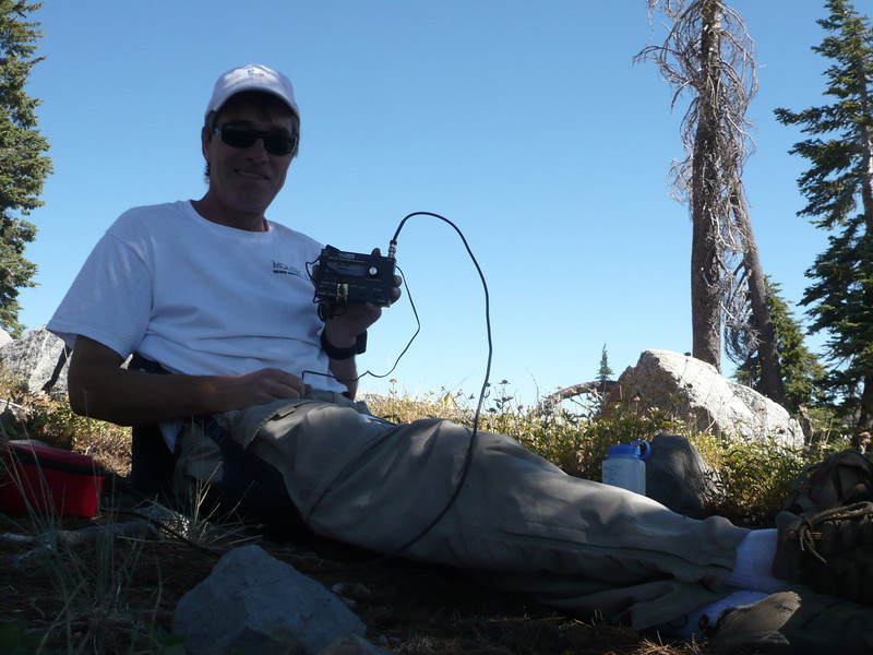 All comfy in the shade, sitting on my Crazy Creek chair, and ready to roll with the little HB-1B QRP transceiver.