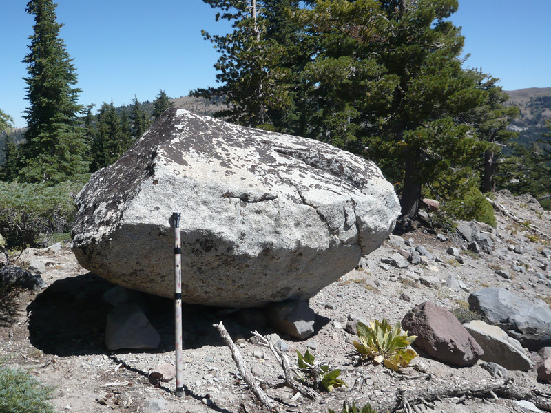 "One of the granite ""pebbles"" that the glaciers left behind on top of Sand Ridge when they scoured and created this landscape eons ago. My Jackite pole is leaning against it for scale."