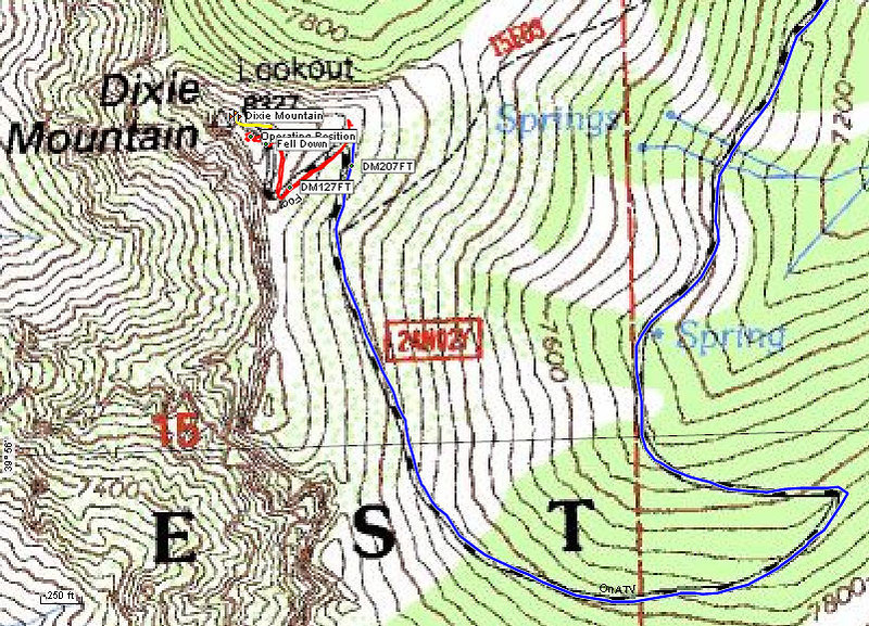 Topo map showing a wider view of the summit area. The blue line is my track on the ATV, the red line is on foot and the yellow line is the snowy and icy trail to the lookout tower.