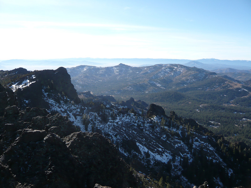 View to south-southwest. The flat and hazy area below the skyline is the Sierra Valley.