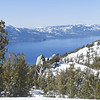 I snapped this shot of Lake Tahoe while skiing down towards Nevada.