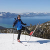 When I had finished operating and was back down into ski mode, I stopped and hammed it up for one of the Epic Mix photographers. That's Lake Tahoe in the background. The camera is looking northwest and the large mountains across the lake on the left side are in Desolation Wilderness. Several of them are SOTA summits.
