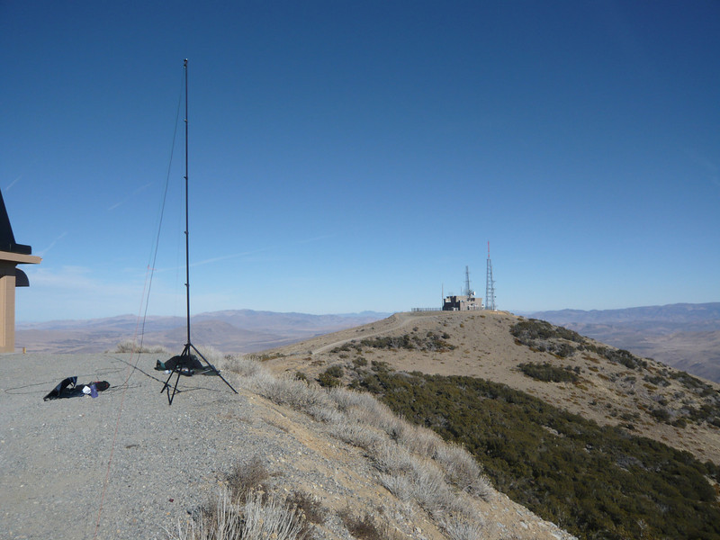 My antenna and operating position on the east edge of the peak, looking north. Gotta love that down-sloping terrain!