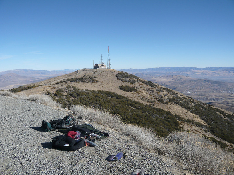 Gear on ground, ready to setup. The other Peavine Peak (not the SOTA one) is in the background. We have a hang glider launch over at the other peak. Supposedly the peak I'm on is just a few feet higher, but it's really hard to tell that without a topo map.