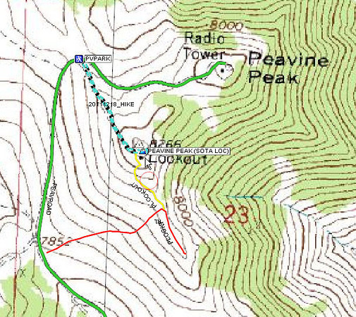 Topo map showing the big dirt and gravel Peavine Road (green), my parking spot, and the GPS track of my hike from there to and from the peak (turquois dashed lines). The red line is an intermediate ATV trail and the yellow line is a somewhat scary extension of it. That's normally how I reach the peak, riding all the way over from Truckee, but SOTA rules require that you hike for at least the last 100 vertical feet. Based on the topo map contours, it looks like I hiked about 200 vertical feet. The coordinates of the peak are 39.58667 N, 119.93194 W.
