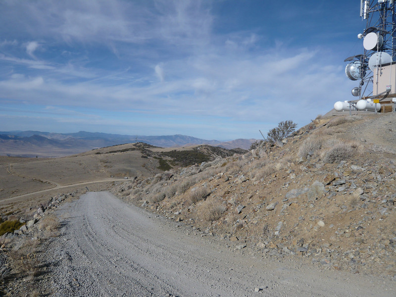 Starting back down, my vehicle is the little dot on the main road way out there.