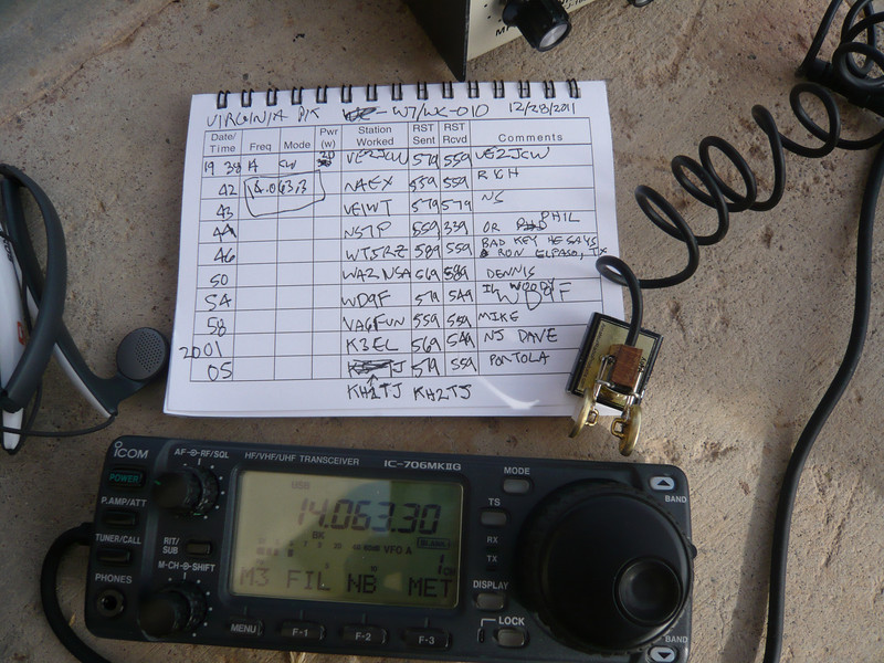 The final log (page 1). All QSOs were made on 20m CW while running 20W.