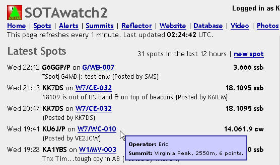VE2JCW answered my very first CQ, then spotted me on SOTAWatch.org. This alerts the other summit chasers that a summit is on the air, and makes it a lot easier on us as well. We don't have to call CQ repeatedly to make contacts: everyone stops by, lines up and we knock em out one after another. :-)<br /> <br /> Thanks VE2JCW!