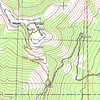 My GPS tracklog highlighted in yellow. The pink line is PCT and the turquoise and white dashed line is my estimation of the activation zone. After reaching the summit, I moved down a bit to operate at the top of the steep, east-facing bowl. I oriented my 88' doublet antenna N-S for maximum signal to the east (and west) directions.