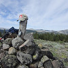 The Pt. 8166 summit marker, properly adorned with my SOTA hat that Etienne K7ATN kindly gave me.