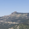 A zoomed in shot of Castle Peak up on the sierra crest. Pacific Crest Trail runs past it on the far (western) side.