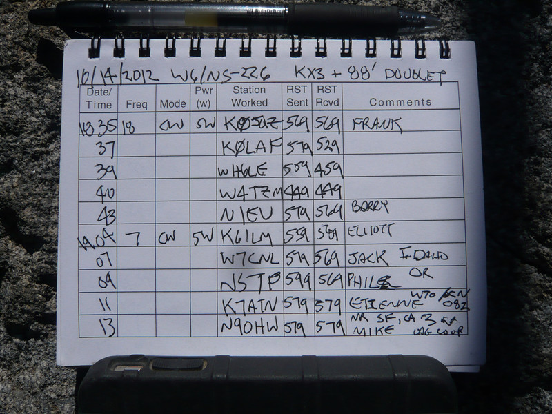 Logbook page 2. Etienne K7ATN called me on 40m for my first summit-to-summit QSO of the day.