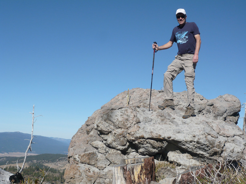 Standing on the summit. I'm actually standing on a smaller boulder, the larger one is behind and blocked from view due to the camera angle.