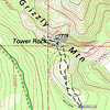 It is a short and easy hike up to the base of Tower Rock (which is the summit of Grizzly Mountain), although there are a few tangles of brush that you will need to make your way through. The dashed black lines are the GPS tracks from my hike up and back, and the dashed turquoise and white line is the activation zone.