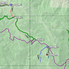 "Zoomed in on the left half of the first map, showing the road route past WIldcat Ridge W6/NS-229 and on to Diamond Mountain W6/NS-191. From the THOMPSON point off the map to the right, continue on 28N02 through the P28N0243 (40.25717N, 120.59747W) and P28N0243B (40.25338N, 120.60343W) points which are major road intersections. Stay left at the first one and right at the second one. I think that the signs point towards Red Rock Lookout. If in doubt, look at the little road marker signs and make sure you are still on 28N02. DO NOT go  in the direction of Susanville or Antelope Lake.  Pass by Wildcat Ridge and go to P28N0217 where you will now take road 28N17 (shown in green), which is straight ahead vs. road 28N02 continuing to the left. Note that <a href=""http://www.fs.usda.gov/wps/portal/fsinternet/!ut/p/c5/04_SB8K8xLLM9MSSzPy8xBz9CP0os3gjAwhwtDDw9_AI8zPwhQoY6IeDdGCqCPOBqwDLG-AAjgb6fh75uan6BdnZaY6OiooA1tkqlQ!!/dl3/d3/L2dJQSEvUUt3QS9ZQnZ3LzZfMjAwMDAwMDBBODBPSEhWTjJNMDAwMDAwMDA!/?navtype=BROWSEBYSUBJECT&cid=stelprdb5322854&navid=360000000000000&pnavid=null&ss=110511&position=Not%20Yet%20Determined.Html&ttype=detail&pname=Plumas%20National%20Forest-%20Maps"">Plumas National Forest's Motor Vehicle Maps</a> (<a href=""http://www.fs.usda.gov/Internet/FSE_DOCUMENTS/stelprdb5409101.pdf"">Janesville Area map</a>) show the green road as being 28N15 instead of 28N17. Maybe it is, but I thought I read 28N17 as my GPS-guided and high-powered vehicle zoomed through that intersection at just under Mach 11. ;-)  The green 28N17 (28N15?) road is rougher than 28N02, but not that much rougher, and 2WD passenger cars should be able to handle it just fine if they slow down on the rougher stuff. Continue to the P12M29_800 point at 40.29823N, 120.67257W and turn right onto motorized trail 12M29 (shown in red)."