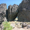 Some of the volcanic rocks in the formation. That odd looking gap between two of them is about 6 feet high (just the part that you can see through) so that gives you an idea of how big these rocks are. They would probably be lots of fun for a rock climber to play around on. By the way, doesn't that gap in the rocks look like the profile of a Roman centurion's helmeted head? Or did I drink one too many cocktails as I write up this trip report? ;-)