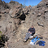 I'm happy as a clam sitting down in my wind sheltered and sun-baked operating position in the crater.
