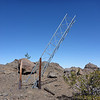 Here is the tower section that I found and erected during my first activation of the summit. The winds have since pushed it over a bit.