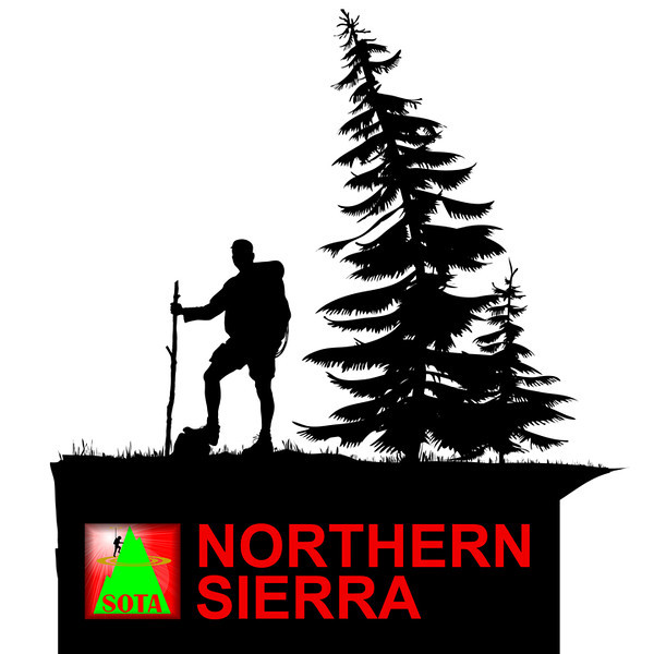 "The SOTA Northern Sierra region logo. This logo is available on Northern Sierra T-shirts, sweatshirts, beer steins, mouse pads, etc. for SOTA participants who qualify for the Northern Sierra Award (offered by yours truly KU6J). The award rules are linked to from my page on QRZ.com. Although Dixie Mountain has a ""CN"" summit reference instead of a ""NS"" Northern Sierra reference, it still counts for the Northern Sierra award since it is geographically located within the Northern Sierra region."