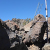 Zoomed in a bit, I tied off the north end of the doublet antenna to the pipe set in rock that you see in the background.