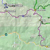 There are a number of ways to get to Haskell Peak. The easiest way is to take Plumas National Forest road 09 (shown in purple) north from Highway 49 to Chapman Saddle. Ignore the Forest Service's sign (their sign says Haskell Peak is straight ahead, and it isn't) and turn LEFT at this major 4-way intersection to continue on road 09. This is a well maintained dirt and gravel road that 2WD passenger cars should have no problem with.<br /> <br /> The official trailhead is at HaskellTrail. If you like long hikes, or don't like hiking cross-country, park there and follow the official trail. I don't like long hikes, so I continue westward to the road junction at F09HASKELL. Turn right, climb up the hill on the road shown in blue, and park at HaskellLoggingRoad. Hike along the logging road (shown in red) until it peters out, then head straight for the summit. There is a rather steep climb along this route, but it isn't bad. Brush is largely a non-issue and is mainly a stunted variety of Manzanita, maybe 6 inches high, that you can tromp right through.<br /> <br /> GPS coordinates:<br /> H49F09 - 39.61728N, 120.50629W<br /> ChapmanSaddle - 39.6576N, 120.52281W<br /> HaskellTrail - 39.65082N, 120.53963W<br /> F09HASKELL - 39.6564N, 120.56343W<br /> HaskellLoggingRoad - 39.66351N, 120.56488W