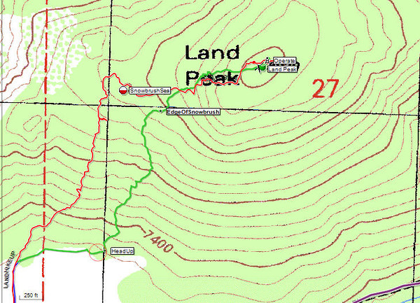 Topo map. The one-way hike distance is around a mile, give or take depending on where you decide to park. Elevation gain is approximately 560 feet.