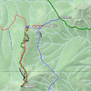 At my C900F22N43 point, turn onto the smaller Plumas National Forest road 22N43 shown in blue.Travel about 1/4 mile to the junction with Plumas NF's motorized trail 10M06 (the red solid line above) at my F22N43P10M06 point (39.74245N, 120.84623W). <br /> <br /> If your motorized vehicle is something other than an ATV or motorcycle, you'll need to park here and walk the rest of the way since trail 10M06 is only open to those types of vehicles. If you are lucky enough to be on a bike or quad, you can turn right onto 10M06 and drive for another 1/4 mile to my FILLMORE_955 point at 39.74218N, 120.85019W. However you reach this point, begin your climb up the north spine of Mt. Fillmore.