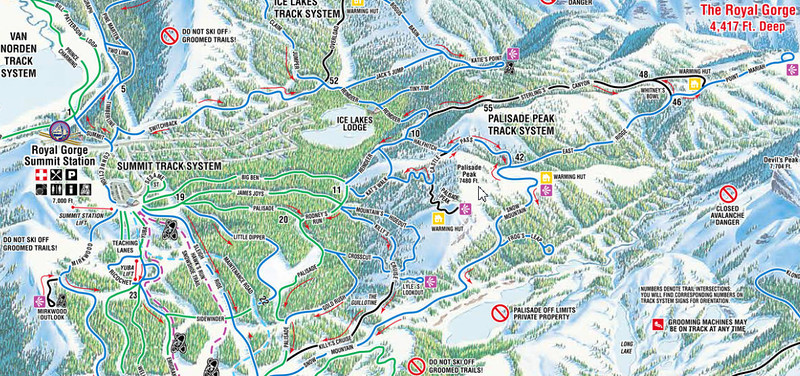 """Pt. 7559 is located within the Royal Gorge Cross Country Ski Area at Soda Springs, CA. On the ski area's trail map it is called """"Palisade Peak"""" and that is also the name that locals use to refer to it. If you want to activate the summit during ski season, you'll need to buy a pass from the ski area."""