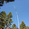 My 88' doublet up on top of the Jackite pole. I used tree limbs to support the ends of the antenna, allowing it to almost be in flattop configuration. The antenna was oriented N-S for maximum radiation to the E-W.