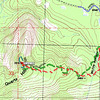 Topo map showing my hikes, red is going up and green is coming back down. Spiny brush (ouch!) is an issue for the first part of the hike as you make your way down to the small stream bed. Once you climb up out of the stream bed, the brush is mostly stunted manzanita which you can easily tromp through or wind your way through it. From the stream bed you will climb about 750 vertical feet to the summit.