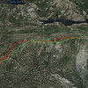 Google Earth view of my hike, looking south.