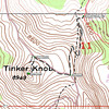 I eventually arrived at the COLDSTREAM_700 point (39.24973N, 120.27902W) which is a junction with the Coldstream Trail that climbs up to Pacific Crest Trail (the pink line). I began my hike from that point. After reaching Pacific Crest Trail at PCTCOLD (39.2447N, 120.28049W), I turned right (north) until I found a use trail at PCTTINKER (39.24624N, 120.28439W) that leads up onto Tinker Knob. Per my GPS, my total one-way hiking distance was just under 1 mile and the topo map shows an elevation gain of about 700 feet. The hike took me 37 min.