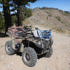 My ATV parked at the COLDSTREAM_700 point where I began my hike. The OHV trail continues down behind my ATV to a junction with the motorcycle trail coming up from Coldstream Valley (the orange dashed line in my maps), then eventually ends at easier dirt roads that run down to the paved Cabin Creek Road which is just a short distance from Truckee on Highway 89. There is a pretty nasty set of narrow and tight switchbacks along the OHV route past the motorcycle trail junction that were easy for my ATV, but I wouldn't attempt them in a larger vehicle.